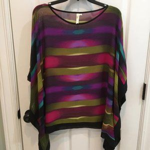 Multi-Color Striped Blouse with Flowing Sleeves